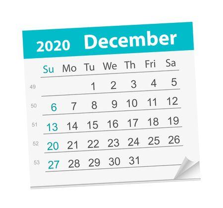 Calendar sheet for the month of December 2020.