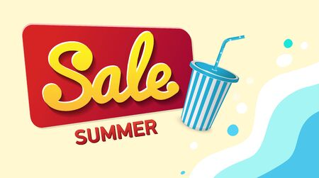 Summer Sale, Promotion banner Offer. Beach and waves.