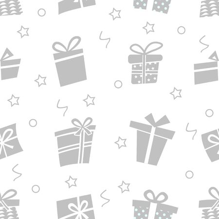 Vector Seamless pattern with gifts. Many gift boxes Иллюстрация