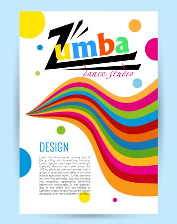 Design for dance Studio. Colored letters card on white Иллюстрация