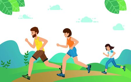 Happy Family with children running or jogging for sport. fitness in summer in park. Good relations in family. Healthy active lifestyle. Vector illustration in modern flat style.