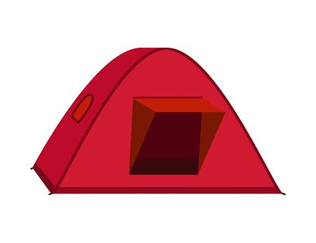 Bright red tourist tent icon. Isolated on white background.