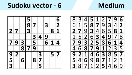 Sudoku game with answers. Simple vector design set