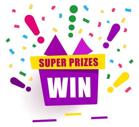 Super prizes win on purple gift box, loyalty program reward