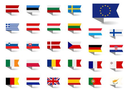 Set of vector flags of the European Union. Big Collection symbols flags. Иллюстрация
