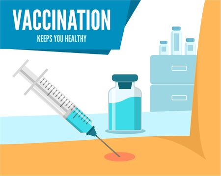 Vaccination Poster. Keep your health. A syringe puts an injection into a person s arm. Иллюстрация