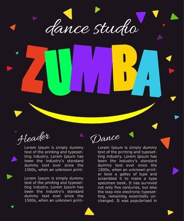 Bright vertical poster Design for dance Studio. Иллюстрация