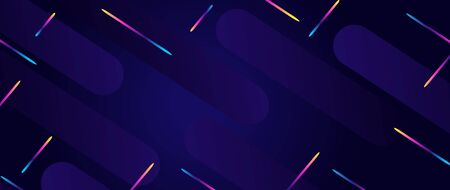 Modern futuristic style. Banner with chaotic geometric rainbow stripes. sparks on dark background.