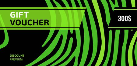 Horizontal gift voucher green lines on black background. Bright abstract design.