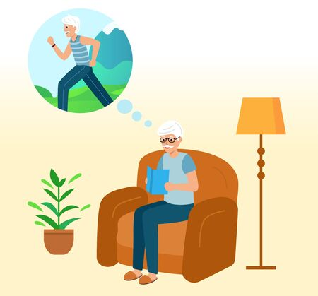 Grandfather is sitting at home on the couch, reading a book.