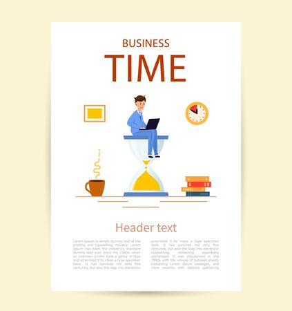 Flyer with title Business time. A young man in a suit is sitting on a large hourglass Иллюстрация