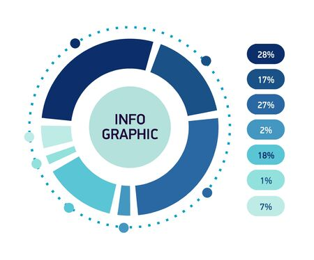 Blue Abstract infographics circle. Template cycle diagram,