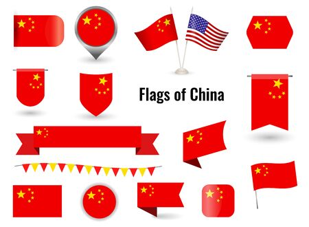 The Flag of China. Big set of icons and symbols. Square and round China flag. Collection of different flags of horizontal Иллюстрация