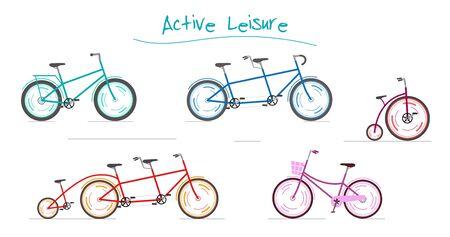 Blue tandem, Circus bike, Family bike and pink women bike. Иллюстрация