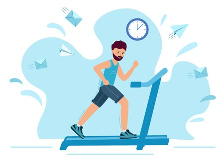Man running on motorized treadmill. Sportive Man is Jogging on a white background.