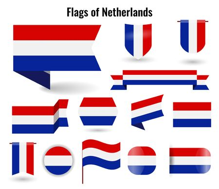 A large set of icons and signs with the flag of the Netherlands.