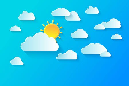 Clear summer sky with white fluffy clouds. Summer vector background