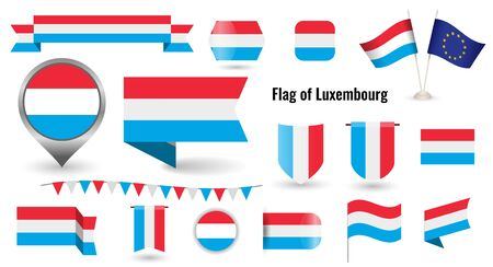 The Flag of Luxembourg. Big set of icons and symbols.
