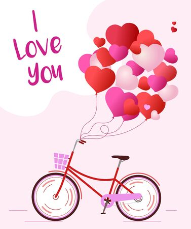 Background for a love card with a Bicycle and balloons Иллюстрация