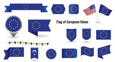 the flag of the European Union. Big set of icons and symbols.