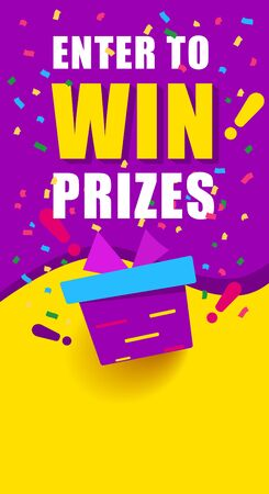 Bright vertical banner with text, enter to win prizes. gift box on yellow Иллюстрация