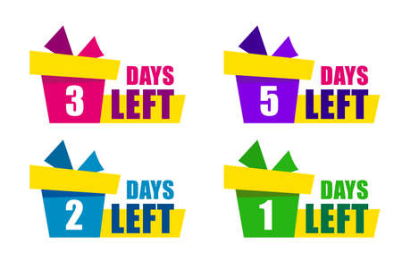 Set color gift box with text days left. Modern Web Banner Element