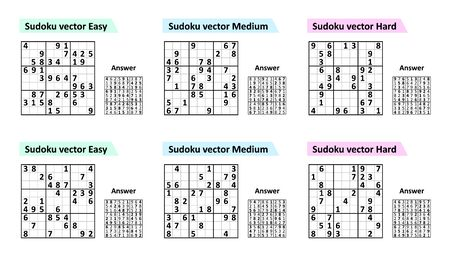 Set Sudoku game with answers. Different complexity. Simple vector design set Sudoku.