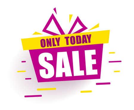 Banner mega Sale Red gift box says sale only today. Promotion background Offer. Ilustração