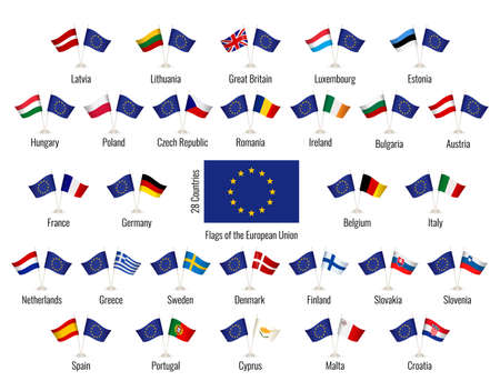 Set of vector flags of the European Union. Big Collection symbols flags. Ilustração