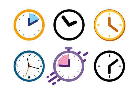 Big set of different color clock icons. Alarm clock, stopwatch. Ilustração Vetorial