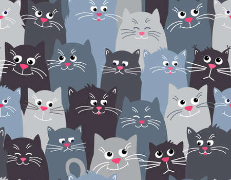 Cute cats grey seamless pattern background. Different faces of cats, funny, sad, sleepy. Vector illustration in Flat style. 矢量图像