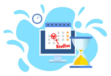 Calendar date as deadline notification on computer screen. flat cartoon event reminder scheduled on agenda. vector illustration in flat style. Ilustração