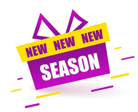 New season Label. Purple gift box, Modern Web Banner Element Promotion background Offer. Vector banner in modern flat style on white.