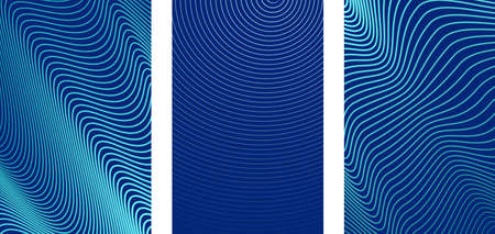 Abstract vertical striped background. Ultra thin abstract wavy lines on blue backdrop. for cover design, poster or banner with space for text. Vector illustration