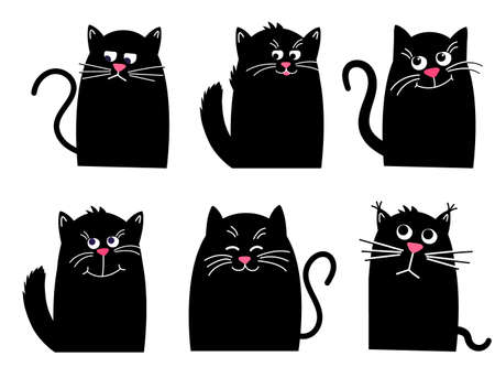 Set black cat. Funny Kawaii animal. Pets collection. Isolated on White background. Cute cartoon character. Vector cartoon Illustration in flat. 矢量图像