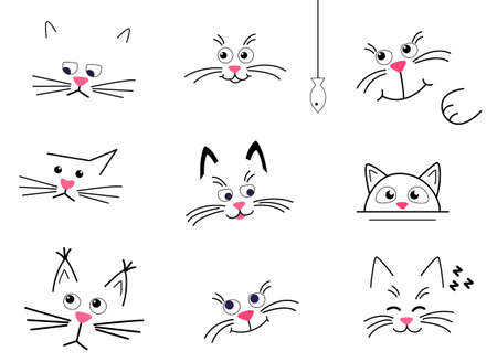 Set Faces of cute cats on a white background. happy, sad and thoughtful cats isolated.