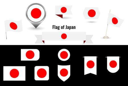 The Flag of Japan. Big set of icons and symbols. 矢量图像
