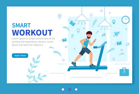 Smart workout. Template of the landing page. A man with a beard trains on a treadmill