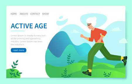Design website Active age. Elderly woman is engaged