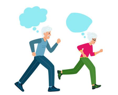 Grandma and grandpa run and talk or think. Older people play sports.