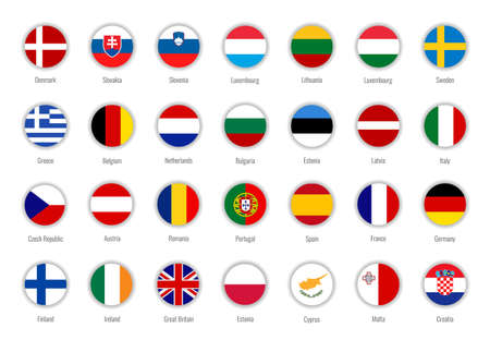 Set of vector flags of the European Union. Big Collection symbols flags. Stock Illustratie