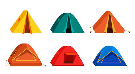 Set Bright colourful tourist tent icon. Isolated on white background. 矢量图像