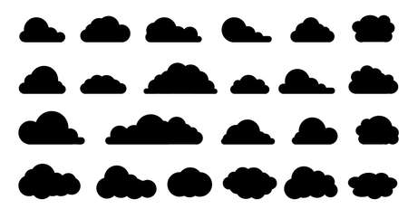 Clouds icon black silhouettes. Vector set clouds shapes.