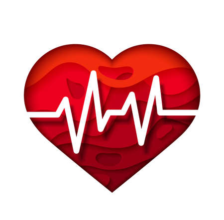 Bright Red heart with cardiogram. Medical design poster.