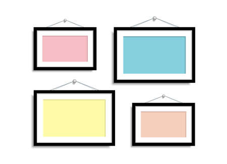 Set Empty frames for photos or pictures hanging on the wall.