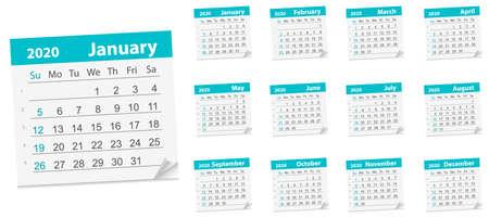 Calendar Leaf , year 2020. Vector Illustration. week starts on Sunday 矢量图像