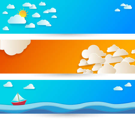 Bright abstract background with white paper clouds on blue sky.
