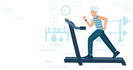 Old Man running on motorized treadmill. Sportive grandfather 矢量图像