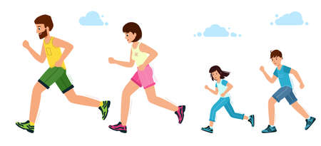 Happy family on a jogging. Father, mother, Daughter and son are running. 矢量图像