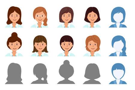 Set Avatar profile isolated. Icons of smiling women. 矢量图像